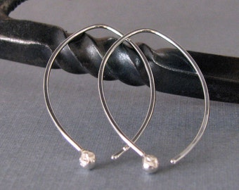 Long Hammered Hoop Earrings, Sterling Silver Elfin Ball Drops - Artisan Jewelry