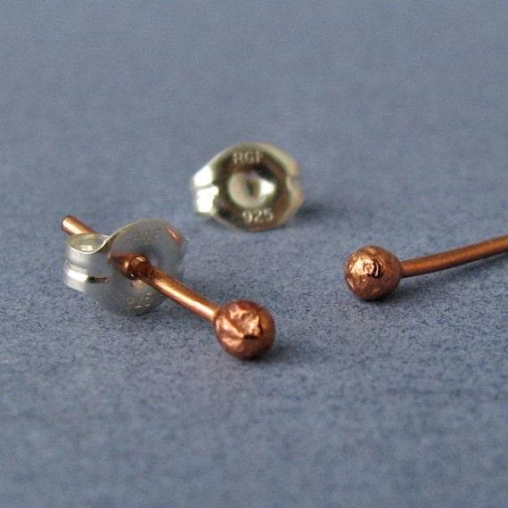 Handmade Copper Ball Post Earrings, Artisan Jewelry, 20 gauge Tiny Bud Studs - Made in USA