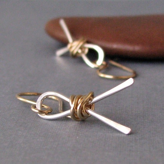 Handmade Dangle Earrings, Silver and Gold Wrapped Ribbons - Mixed Metal - Artisan Jewelry, 14k GF