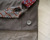 Messenger Bag, Laptop Bag ,Men's Suit, Men's Tie - Upcycled, Eco Friendly