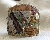 Fabric Bracelet Cuff- Eco Friendly Patchwork, Gypsy, Boho, Textile art,  OOAK