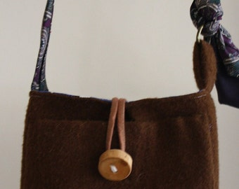 Eco Friendly Wool Purse, Upcycled from Men's Wool Suit Coat and Men's Suit Tie and Sustainably Harvested Maine Wood