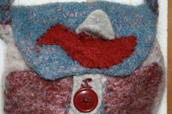Children's Purse, Felted Organic Wool and Alpaca with Upcycled Bird and flapping wings Applique
