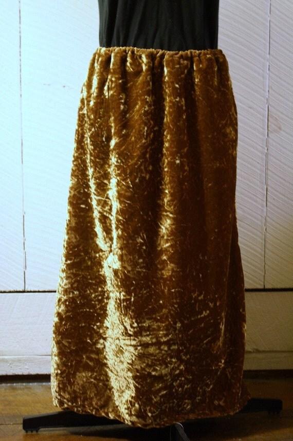Women's Golden Wheat Velvet long Skirt, Upcycled, Eco friendly