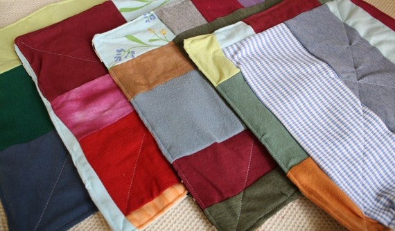 Eco Friendly Cloth Napkins, Set of 4 Upcycled, One of a Kind, Double sided and Quilted