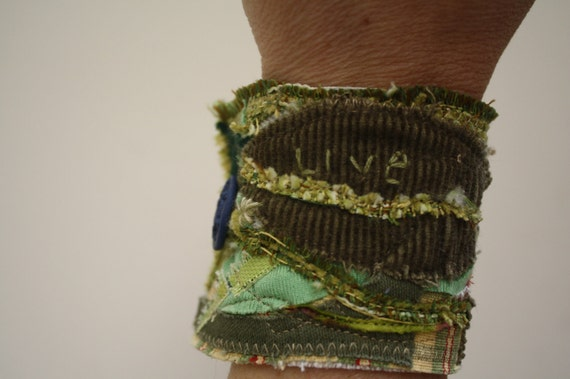 Fabric Bracelet Cuff- Eco Friendly Patchwork, Gypsy, Boho, Textile art, OOAK