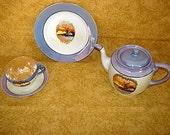 20 Piece Antique Noritake Chikaramachi Lustreware Teapot Set Windmill Exqusite