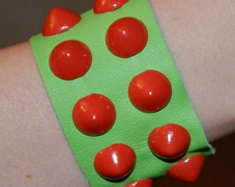 Red Cone Stud Cuff with Green Leather
