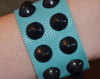 Turquoise Leather Cuff with Black Cone Studs
