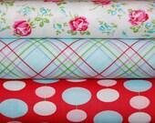 Tanya Whelan, Sugar Hill - 3 Fat Quarter Bundle - Pink, Red, and Aqua
