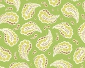 SHOP CLOSING SALE - Heather Bailey, Fresh Cut 2011, Dotted Paisley in Green  - 1 Yard