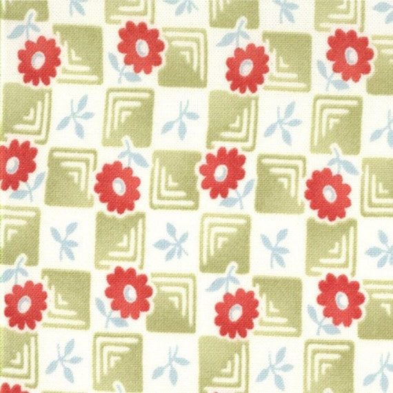 LAST ONE - SALE - Bonnie and Camille, Bliss, Check in Lime - 4/9 Yard