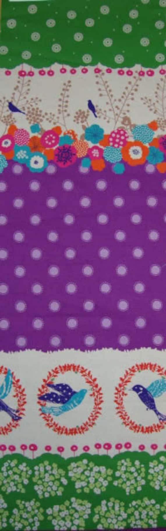 last one - SHOP CLOSING SALE - fabric sale - Etsuko Furuya, Echino, Bird in Wreath in Purple and Green - 1/2 yard