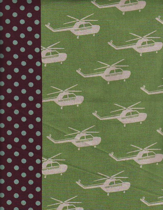 "Last One - SHOP CLOSING SALE - Etsuko Furuya, Helicopter in Green Blue and Brown - 13"" x wof"