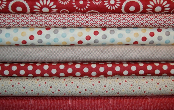 Sweetwater, Hometown - 7 Fat Quarter Bundle - Red and Cream Collection