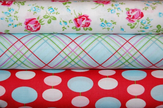Tanya Whelan, Sugar Hill - 3 Fat Quarter Bundle - Pink, Red, and Aqua