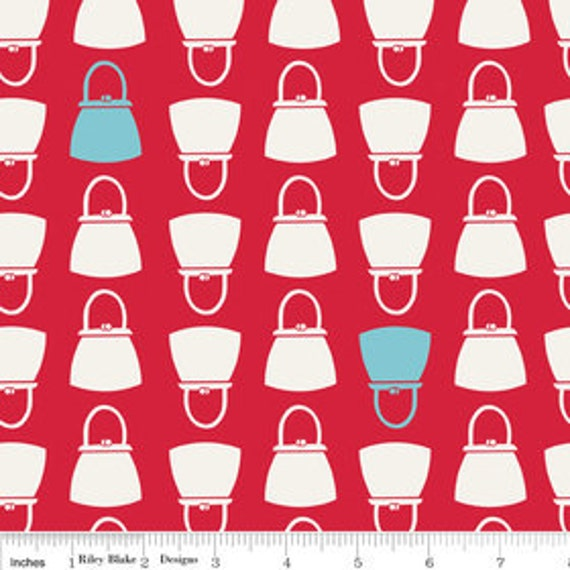 FABRIC SALE - Lori Holt, Bee in My Bonnet, Millie's Closet, Purses in Red - 1/2 Yard