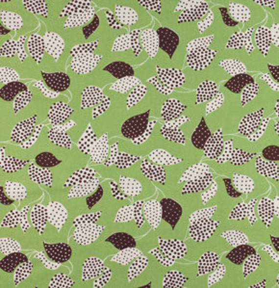"""last one - SHOP CLOSING SALE - Denyse Schmidt, Flea Market Fancy - Legacy Collection, Leaf and Dot in Green  - 15"""" x wof"""