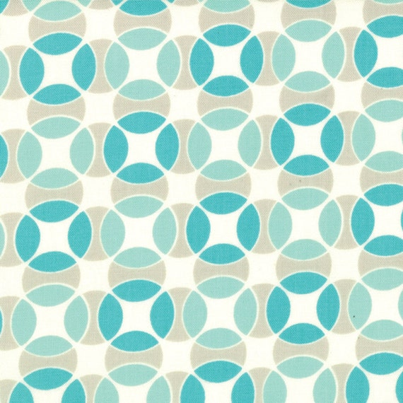 SHOP CLOSING SALE - Bonnie and Camille, Vintage Modern, Hopscotch in Sky -  Half Yard of Fabric