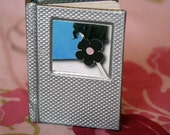 Tiny Mini Book with Print - Flower (Silver Cover)