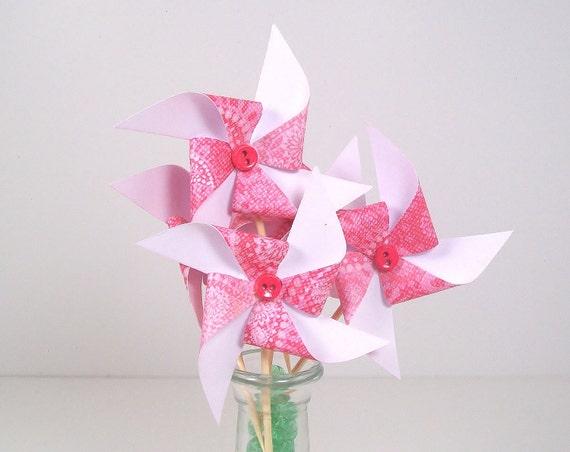 Cupcake Toppers Mini Pinwheels in Sassy Pink