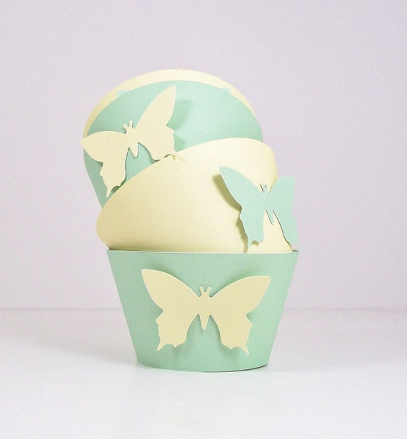 Butterfly Cupcake Wrappers - Pale Green and Pastel Yellow with  Butterflies Spring Sale 15% Off