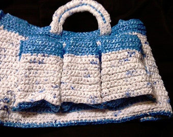 Upcycled Blue and White Plarn Bag (B.M.O.B.)