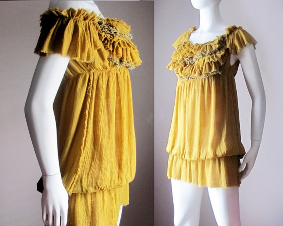 Renaissance Dress. Mustard, Mustard yellow. Fairy Dress. Ready to Ship. 1920s. Flapper Dress.