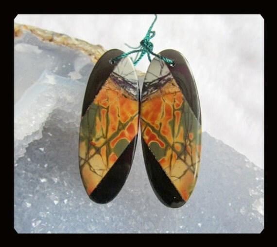 Multi-Color Picasso Jasper,Obsidian Intarsia Earring Bead,40x16x4mm,8.21g