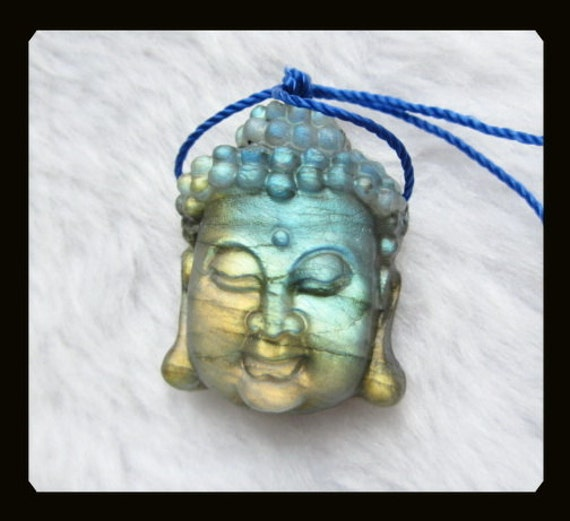 Carved Labradorite Buddha Head Pendant Bead,31x25x12mm,13.23g