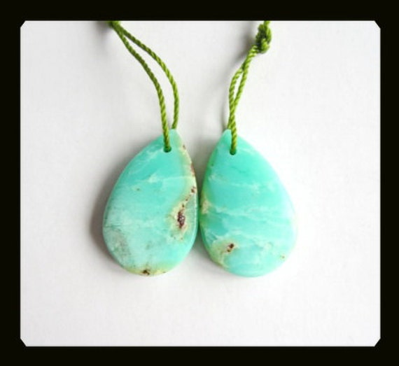 Chrysoprase Earring Bead,22x14x4mm,4.28g