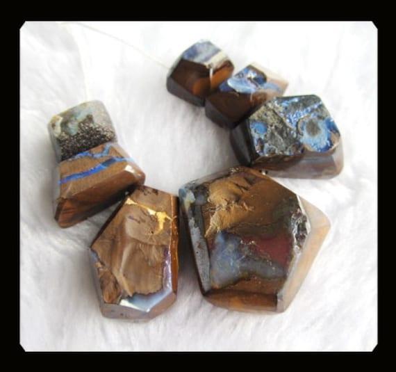 SALE,7 PCS Boulder Opal Pendnat Bead SET,37.94g