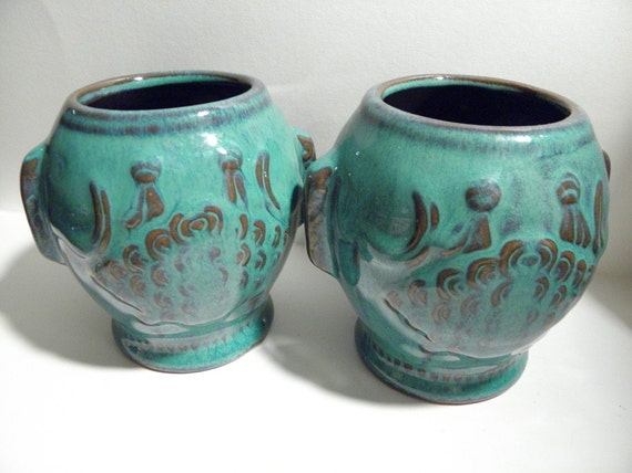 Pair of Terra Cotta Studio Pottery Vases