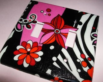 Hot Pink and Zebra Mod Double Light Switch Plate Cover