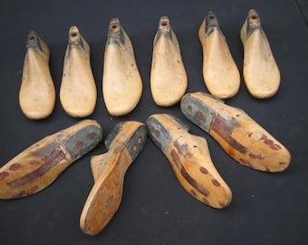 Growing Girl's group of 10 wood shoe lasts