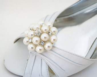 pearls wedding shoe clips, rhinestone ivory shoe embellishment,