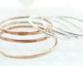 Three Copper and Three Sterling Silver Stacking Rings-- Set of 6
