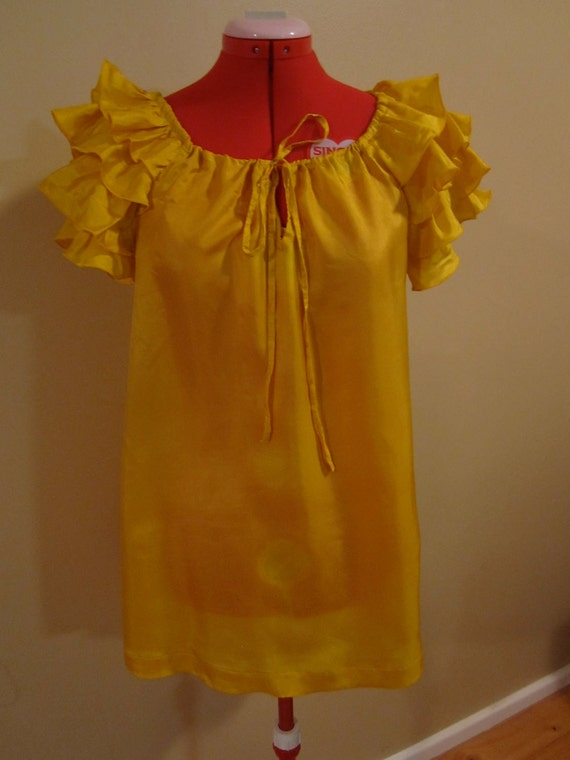 Vintage Yellow Ruffle sleeved blouse