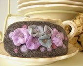 Charming  wool barrette with romantic lilac flowers