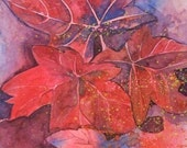 watercolor still life painting - Blood Maple
