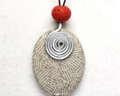 Eco friendly jewelry - Newspaper pendant red coral bead