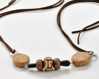 Bohemian style jewelry, Earth tone necklace, Bohemian necklace, Eco fashion