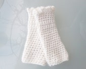 """Handcrocheted Wrist Warmers in Soft White Pure New Wool for Ladies, Fits All, """"Princesse"""""""