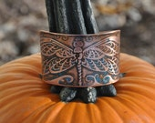 Etched Copper Cuff Bracelet with Dragonfly