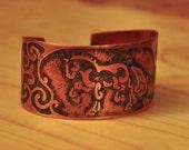 Etched Copper Cuff Bracelet with Dressage Horse Design