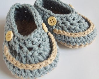 Baby Booties, Baby Loafers, Baby Boy Shoes, Country Blue and Cream