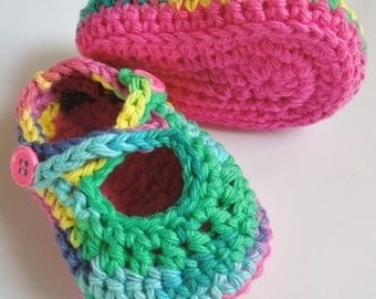 Baby Booties, Baby Shoes, Crossstrap Maryjane Shoes, Crocheted Shoes, Cotton Yarn, 0-3, 3-6 Months.