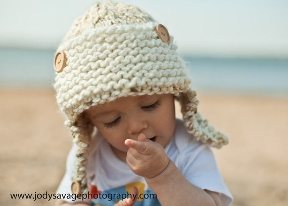 Baby Aviator Hat Knit with Aviator Brim, Ear Flaps, and Buttons in Almond Colors.  Great baby gift