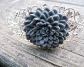 Silver-tone Mum/Chrysanthemum Flower Filigree Headband - Smoky Gray