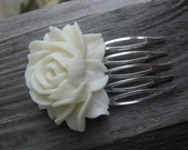 White Rose Silver tone hair comb